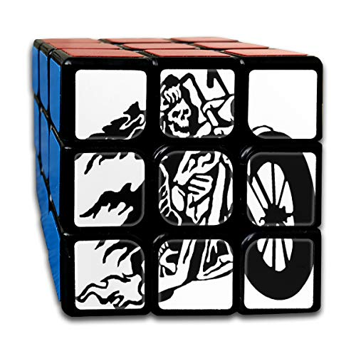 Rubiks Cube Flaming Skeleton Biker Riding Personalized 3 x 3 Speed Cube For Kids Intelligence Toy (Sticker) ()