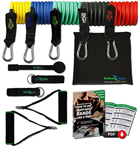 Resistance Bands Widerstandsband Set von BeMaxx Fitness + Bonus Trainingsguide - Pro Expander Tubes: 5 Widerstandsbänder aus Latex + Griffe, Türanker & Fußschlaufen für Ganz-Körper-Workout