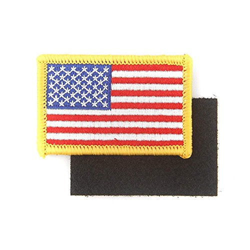 Flag Embroidered Patch Gold Border USA of America Military Uniform Iron Sew On National Emblem