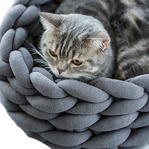 Braid Cat Cave Handmade Cozy Kitten Bed Chunky Knitting Dark Grey Kitty House Diameter 14 inch (Felted Knitting Hats)