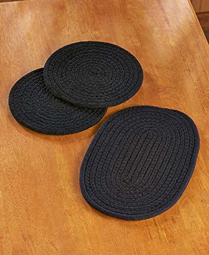 Set of 3 Fabric Trivets (Black)