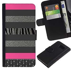 KLONGSHOP / Tirón de la caja Cartera de cuero con ranuras para tarjetas - Silver Lines Glitter Pattern Pink - Samsung Galaxy S6 SM-G920