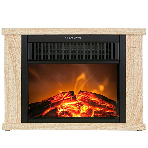 akdy 13 wood color freestanding tabletop portable log style electric fireplace heater stove w. Black Bedroom Furniture Sets. Home Design Ideas