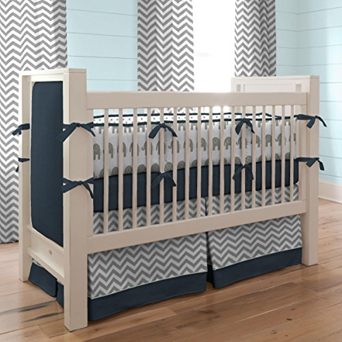 Carousel Designs Navy and Gray Elephants Crib Bumper by Carousel Designs (Image #2)