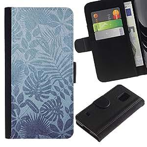 KingStore / Leather Etui en cuir / Samsung Galaxy S5 V SM-G900 / Naturaleza Leaves Wallpaper Tropical