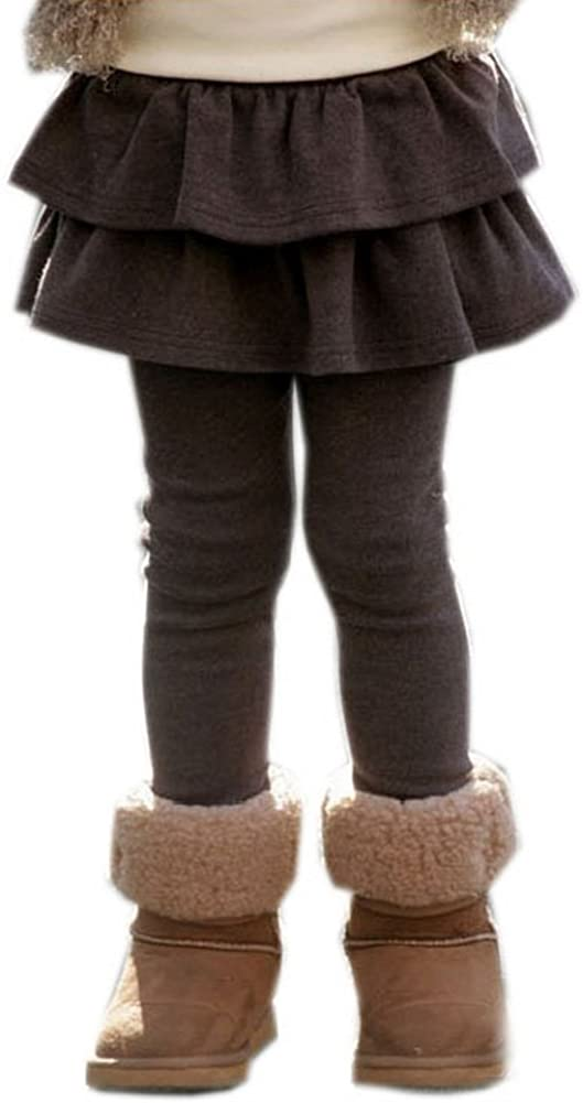 Black Temptation Ultra Thick Winter Pants for Girls Brown Skirt Legging 7-8 Years Old