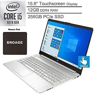 "2020 HP 15 15.6"" Touchscreen Laptop Computer, 10th Gen Intel Quad-Core i5 1035G1(Beats i7-7500U), 12GB DDR4, 256GB PCIe SSD, Online Class Ready, Windows 10, BROAGE 3-in-1 Stylus 64GB Flash Drive"