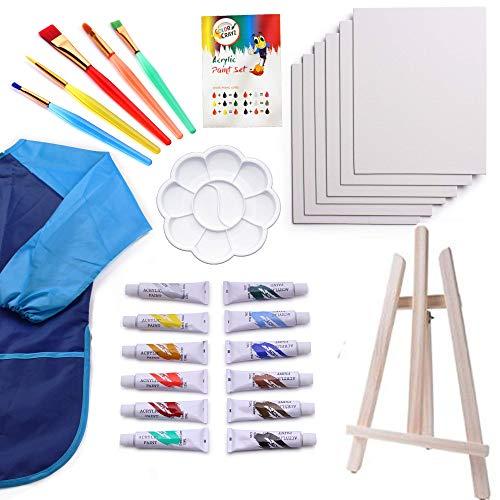Kids Art Set   27-Piece Acrylic Paint Set with 5 Paint Brushes 8x10 Painting Canvas Tabletop Easel & Bonus Art Smock Paint Palette Color Mixing Chart (Kids For Kit Paint)