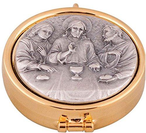 Last Supper Pyx in Antique Silver & Lourdes Prayer Card