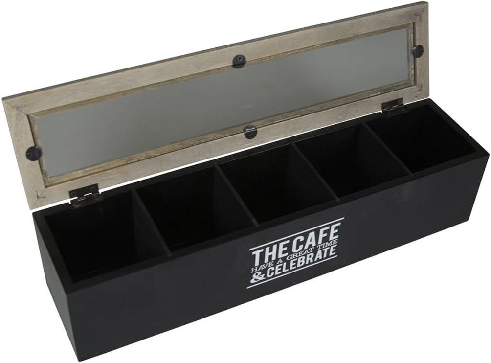 Gusta Caja Té 5 Compartimentos Madera Negra Organizador Cocina Café Infusiónes: Amazon.es: Hogar