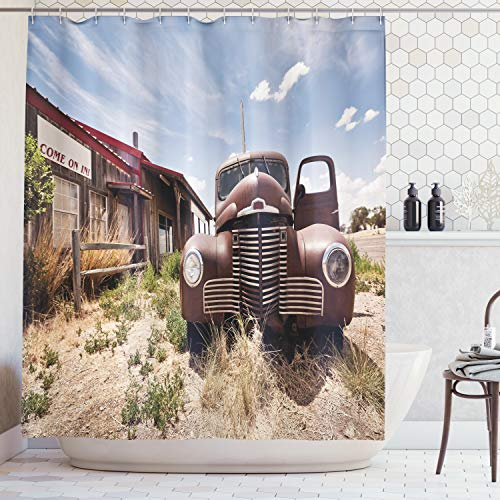 (Ambesonne Americana Decor Collection, Abandoned Restaurant on Route 66 with Come on in Sign Desert Road Rusty Old Car Picture, Polyester Fabric Bathroom Shower Curtain Set, 75 Inches Long, Brown Blue)