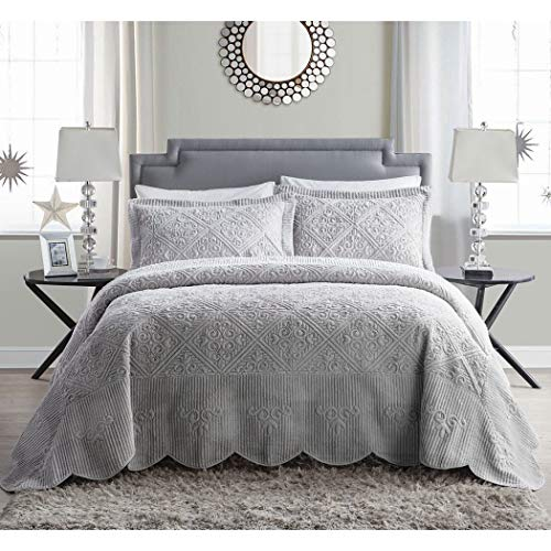 3pc 118 x 118 Grey Oversized Bedspread King Set Hangs Down Side Bed, Polyester, French Country Classic Floral Pattern, Large Wide Extra Long Quilted Bedding Gray Drops Over Edge Frame