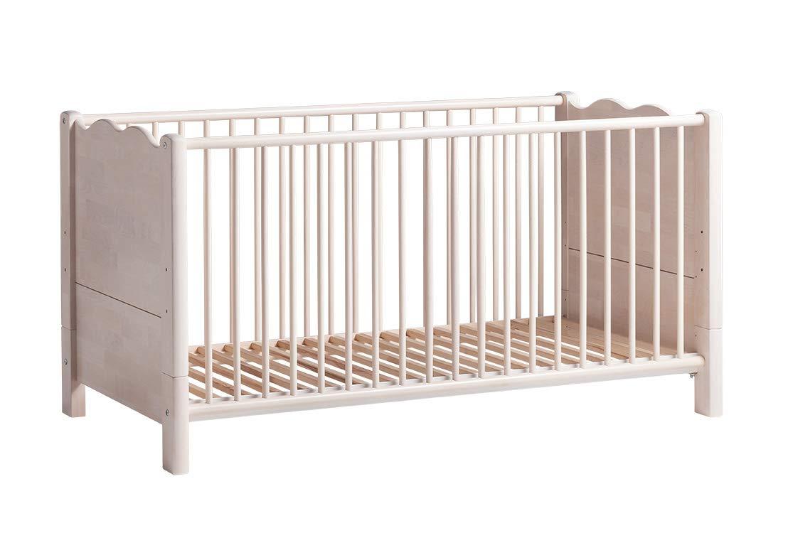 BioKinder Feli Babybett Gitterbett Beistellbett aus Massivholz Birke 70 x 140 cm weiß lasiert