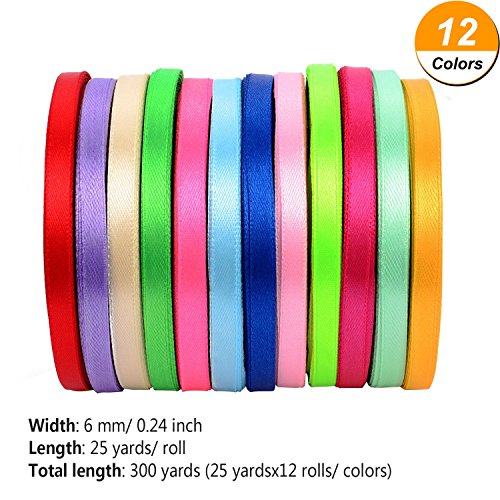Shappy 300 Yards Double Sided Fabric Ribbon Silk Satin Roll, 12 Colors (6 mm Wide)