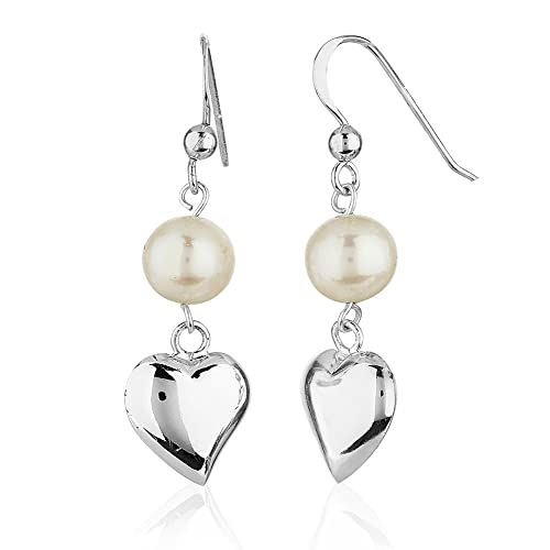 925 Sterling Silver Simple Solid Heart Cultured Freshwater Pearl Drop Dangle Earrings