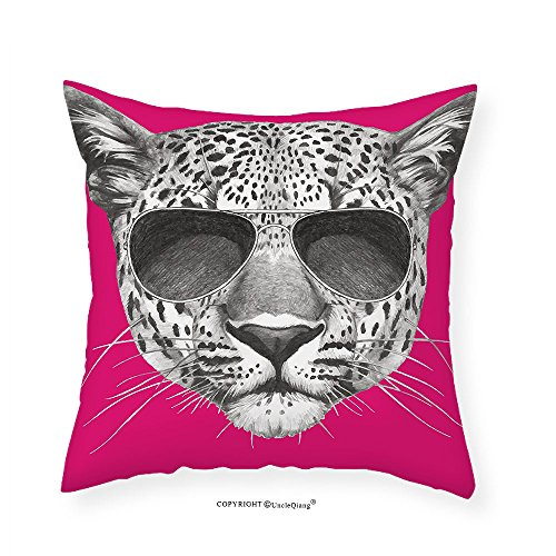 VROSELV Custom Cotton Linen Pillowcase Modern Hipster Leopard with Aviators Sunglasses Portrait Cool Wild Animal Illustration for Bedroom Living Room Dorm Magenta Grey - Aviators Tumblr