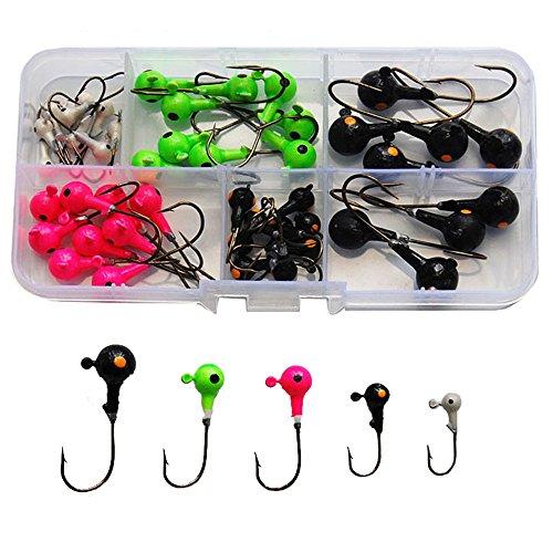 Total Tackle (50Pcs Assorted Fishing Jig Head Hooks Fishing Hooks Tackle Box Kit - Total 175g in A Free Handy Box)