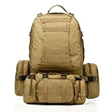 IFLYING 50L Tactical Backpack with 3 MOLLE Bags Military Rucksack Bag for Hiking Camping Mountain Climbing