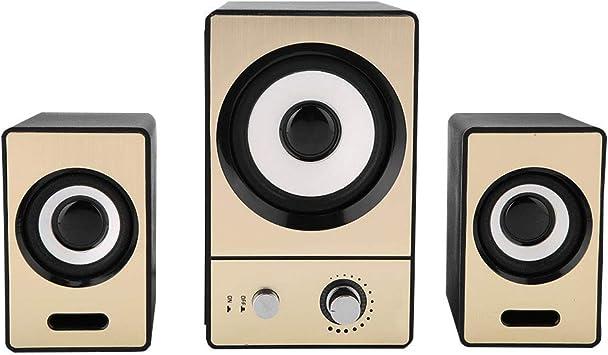 ASHATA HiFi Altavoces Portátiles con Sonido Envolvente Estéreo para Computadora de Escritorio SADA 2.1 Altavoces Claros para PC con Subwoofers(Oro): Amazon.es: Electrónica