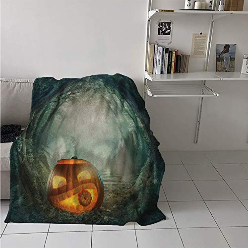 Lightweight Blanket, Drawing of Scary Halloween Pumpkin Enchanted