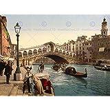 PHOTOGRAPH CANAL GONDOLA RIALTO BRIDGE VENICE ITALY ART PRINT POSTER CC1475