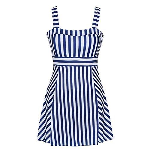dcf97028ce DANIFY Women's One Piece Sailor Vintage Swimsuit Tankini Plus Size Cover Up  Swimdress
