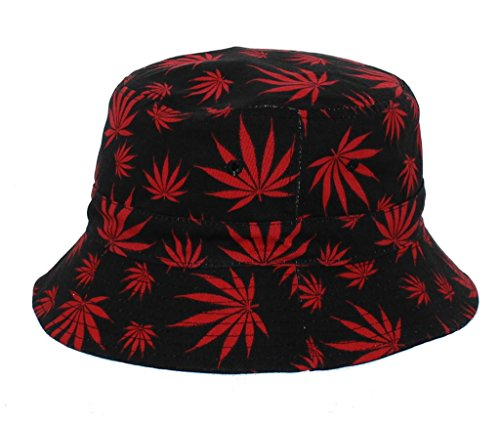 All-Over-Print-Mary-Jane-Weed-Printed-Bucket-Hat-in-Red