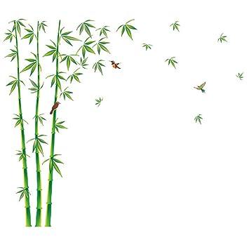 Amazon新鮮な竹鳥緑の葉ウォールステッカー 簡潔爽やか 貼って