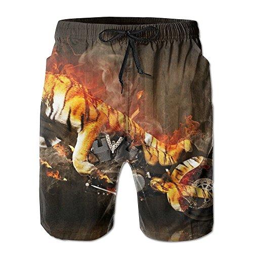 Leisue Wood Flaming Tiger Animal Motorcycle Quick Dry Beach Shorts Men Boardshort