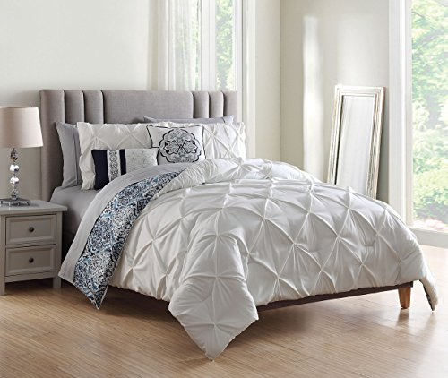 S.L. Home Fashions 9 Piece Tawny White/Navy w/Cotton Sheets Comforter Set Queen