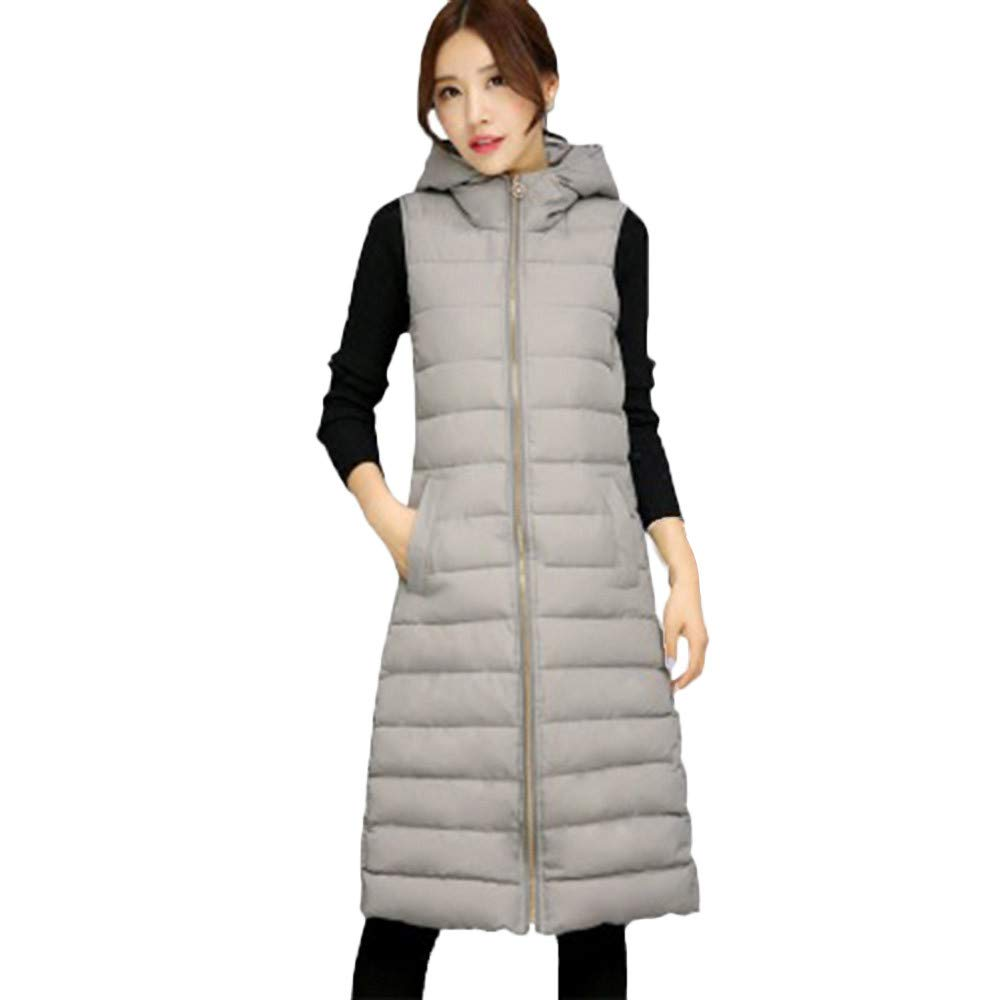 PENATE Women's Slim Elegant Down Vest Long Jacket Winter Warm Hooded Cotton Coat