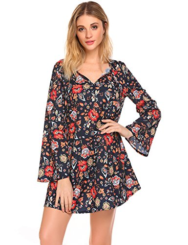 Easther Women's Printed Long Sleeve Henley V Neck Pleated Casual Flare Tunic Blouse Shirt (Printed Cardigan V-neck)
