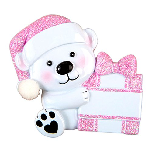 Personalized Baby Bear Hold Present Christmas Tree Ornament 2019 - Polar Girl Sparkle Hat Glitter Gift Box Heart Paw 1st First Love New Mom Shower Granddaughter Kid Year - Free Customization (Pink)
