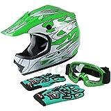 TCMT Dot Youth & Kids Motocross Offroad Street Helmet Green Flame Motorcycle Helmet White Dirt Bike Dirt Bike Helmet+Goggles+gloves (XL, Green)