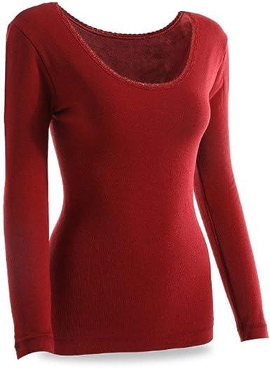Mujer Camisas Terciopelo Grueso Esqui Top Termo Manga Larga Warm Cuello Redondo Elástica Slim Fit Unicolor Tops Interior Térmica Ropa: Amazon.es: Ropa y accesorios