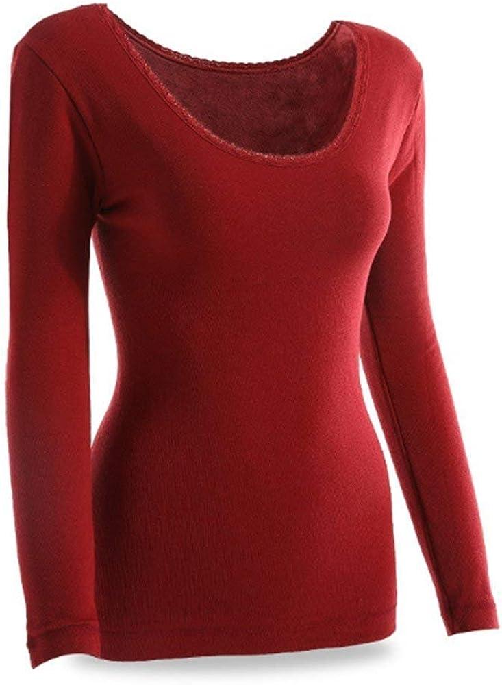 Camisa Térmica De Manga Larga para Mujer Cuello Redondo Sencillos Camisa De Terciopelo Grueso Tops Color Sólido Calidez Pantalones Ajustados Leggings Estilo (Color : Dunkelrot, Size : M): Amazon.es: Ropa y accesorios