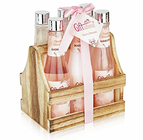 Spa Gift Basket with Heavenly Cherry Blossom Fragrance, Wooden Cabinet with 6 Bottles, Best Wedding, Birthday, Anniversary or Thank You Gift Set, Includes Shower Gel, Bubble Bath, Body Lotion & more! (Set Bath Gift Body)