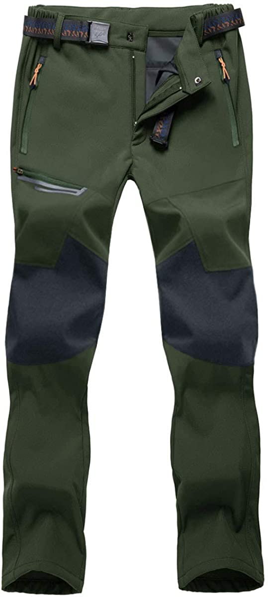 BIYLACLESEN Mens Outdoor Hiking Pants Ski Pants Zipper Pockets