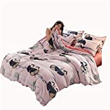 WMA-Home 4 Piece Set Thick Coral Fleece Flannel Fleece Quilt Winter Fale Sheets Bed kit Crystal Velvet,E,220 * 240CM