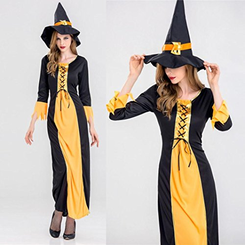 Sinwo Adult Womens Sexy Vampire Witch Dress Halloween Cosplay Party Costume (A, (Evening Vampire Costumes)