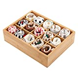 Gobam Home Storage Box Drawer Organizer and Storage Baby Closet Divider for Bras,Briefs,Underwear,Socks,Towels,Ties,Compartments of 15,Natural Bamboo