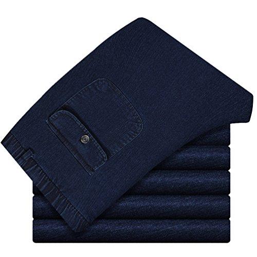 Jeans Pantalón Elástica Largos Cintura ZKOOO Denim La Vaqueros Pantalones Suelto Imagen con Pernera recta Pantalon Como Hombre v0Y1Oqw0