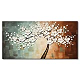 Everfun Art Large White Flower Oil Painting on Canvas Hand Painted Floral Wall Art Abstract Plum Blossom Picture Modern Artwork Decor fro Living Room Framed Ready to Hang 60x30