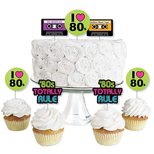 80's Retro - Dessert Cupcake Toppers - Totally 1980s Party Clear Treat Picks - Set of 24 -