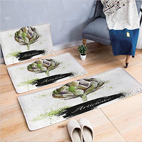 3 Piece Non-Slip Doormat 3d print for Door mat living room kitchen absorbent kitchen mat,Fresh Vegetable Healthy Menu Good Eats Super Food,15.7