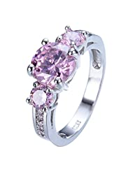 GDSTAR Cute Pink Sapphire Stone Ring Shining White Gold Filled Finger Rings Bague Femme