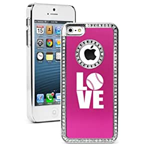 Apple iPhone 5c Hot Pink CS1497 Rhinestone Crystal Bling Aluminum Plated Hard Case Cover Love Baseball Softball