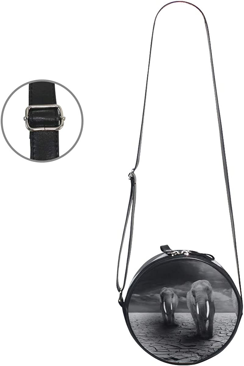 KEAKIA Elephant Animals Africa Round Crossbody Bag Shoulder Sling Bag Handbag Purse Satchel Shoulder Bag for Kids Women
