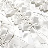Surepromise 25 Wedding Pew End Bows Ribbon Decoration Chairs Cars Gift Wrap (White)