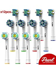 Oral B Braun Compatible Replacement Brush Heads – Pack Of 12 Electric Toothbrush Assorted Heads -Includes 4 Floss Action, 4 Cross Action & 4 Pro White –Try Them All You'll Find Your Favorite